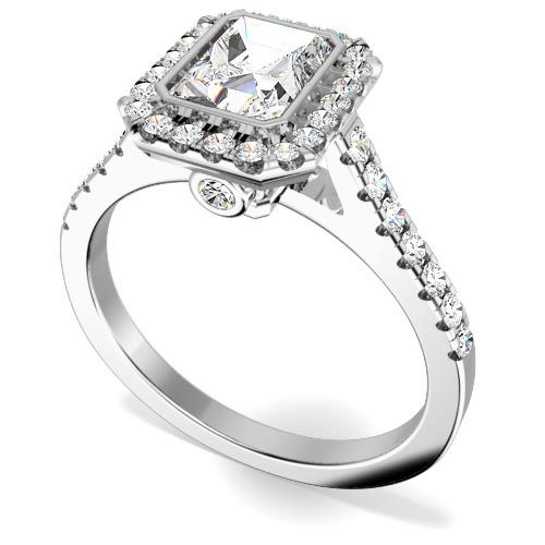 Inel Cluster cu Mai Multe Diamante Dama Aur Alb 18kt cu un Diamant Central Taietura Smarald si Diamante Mici Rotund Briliant pe Margini