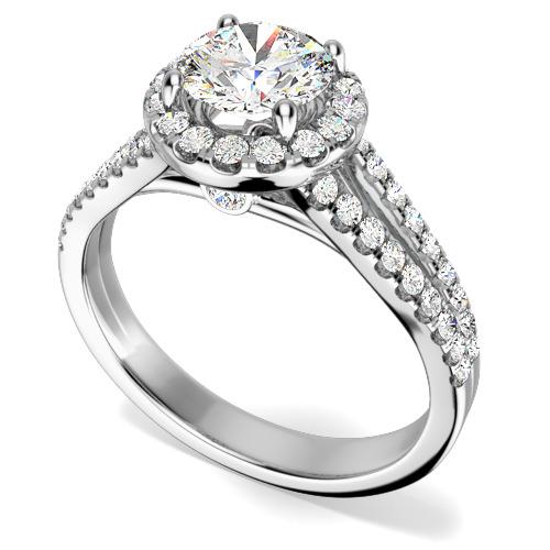 Inel Cocktail/ Inel de Logodna cu Diamante Dama Aur Alb 18kt cu Diamante Rotund Briliant Setate cu Gheare, Stil Halo