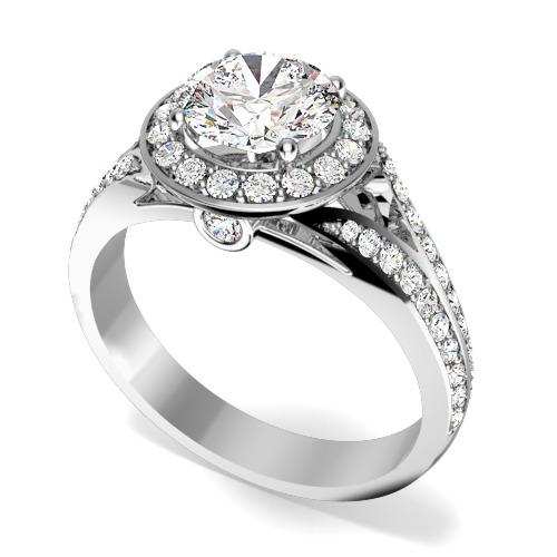 Inel de Logodna cu Diamante Dama Aur Alb 18kt cu un Diamant Central Rotund Briliant si Diamante Mici pe Margini in Setare Gheare