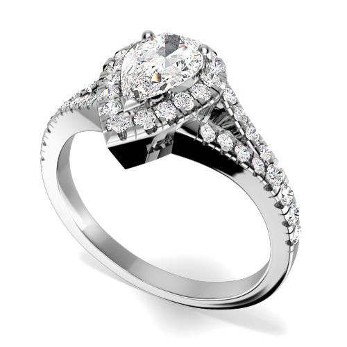 Inel de Logodna cu Diamante Dama Aur Alb 18kt cu un Diamant Central in Forma de Para si Diamante Mici Rotund Briliant pe Margini