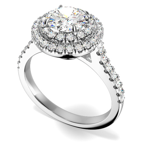 Inel Cocktail/ Inel de Logodna cu Diamante Dama Aur Alb 18kt cu un Diamant Central Rotund Briliant si Diamante Mici Rotund Briliant Stil Halo