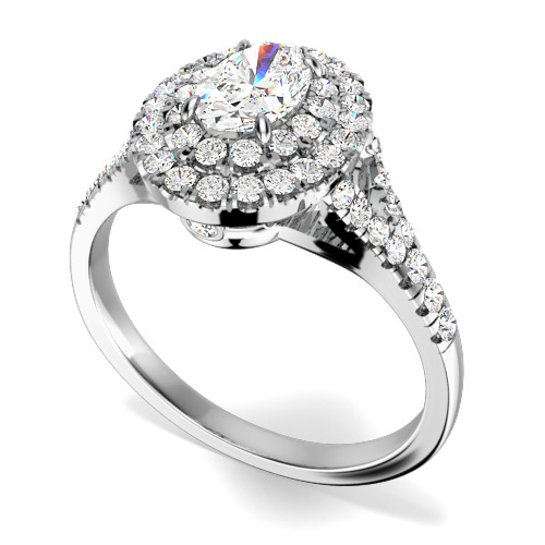 Inel Cocktail/ Inel de Logodna cu Diamante Dama Aur Alb 18kt cu un Diamant Central Oval si Diamante Mici Rotund Briliant