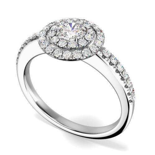 Inel Cocktail/ Inel de Logodna cu Diamante Dama Aur Alb 18kt cu Diamante Rotund Briliant Setate cu Gheare, Stil Dublu Halo