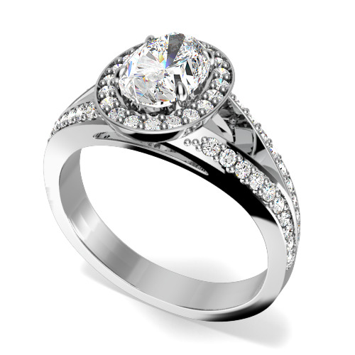 Inel de Logodna cu Diamante Dama Aur Alb 18kt cu un Diamant Central Oval si Diamante Mici Rotund Briliant Imprejur si pe Margini