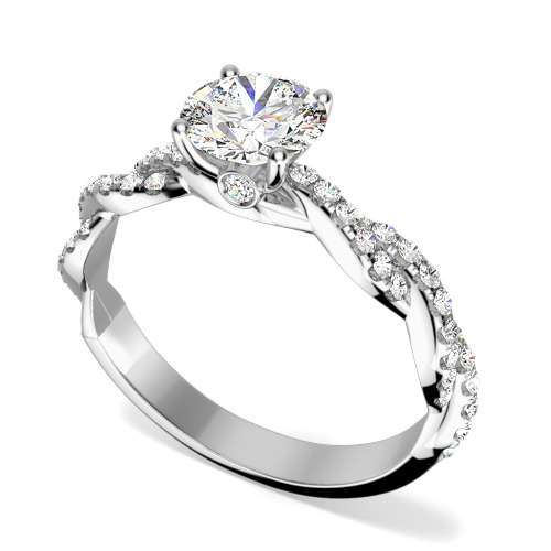 Inel de Logodna Solitaire cu Diamante Mici pe Lateral Dama Aur Alb 18kt cu Diamante Rotunde Briliant si Design Impletit