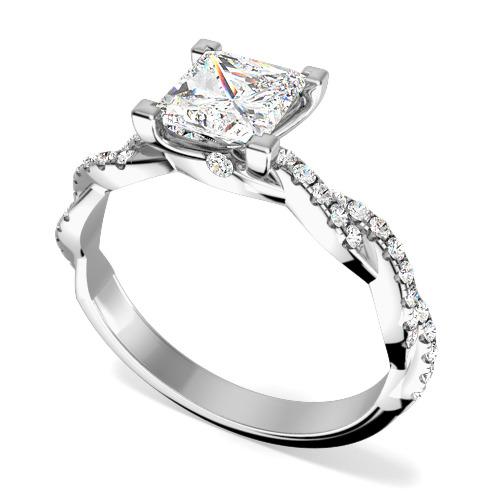 Inel de Logodna Solitaire cu Diamante Mici pe Lateral Dama Aur Alb 18kt cu un Diamant Princess si Briliante Rotunde pe Banda Impletita