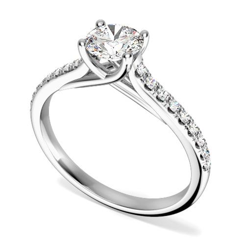 Inel de Logodna Solitaire cu Diamante Mici pe Lateral Dama Aur Alb 18kt cu un Diamant Rotund Briliant in Centru si Diamante Rotunde Briliant pe Lateral