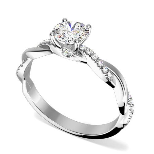 Inel de Logodna Solitaire cu Diamante Mici pe Lateral Dama Aur Alb 18kt cu Briliante Rotunde si Banda cu Design Impletit