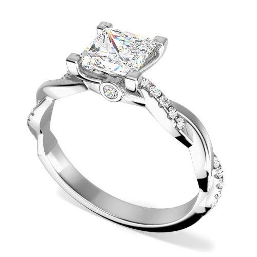 Inel de Logodna Solitaire cu Diamante Mici pe Lateral Dama Aur Alb 18kt cu un Diamant Princess si Diamante Rotunde, Design Impletit