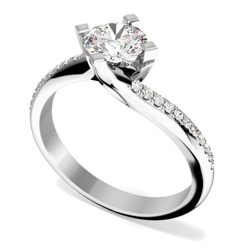 Inel de Logodna Solitaire cu Diamante Mici pe Lateral Dama Aur Alb 18kt cu un Diamant Rotund Briliant in 4 Gheare si Diamante Rotunde Lateral
