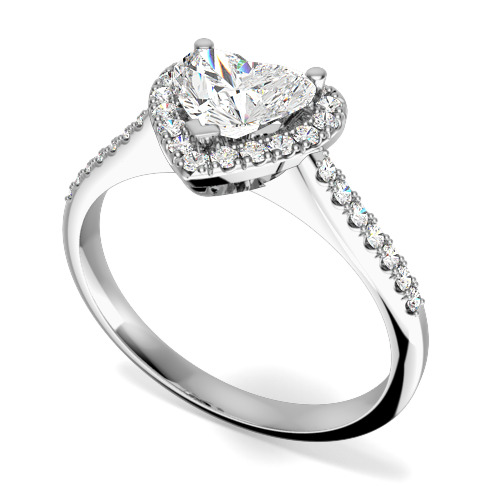 Inel de Logodna cu Mai Multe Diamante Dama Aur Alb 18kt cu un Diamant in Forma de Inima si Diamante Rotunde Briliant in Jur