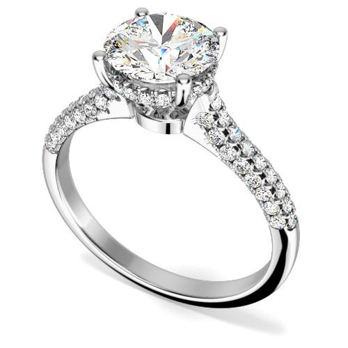 Inel de Logodna Solitaire cu Diamante Mici pe Lateral Dama Aur Alb 18kt cu Diamant Central Rotund Brilliant si Diamante Mici pe Lateral, Setare Gheare