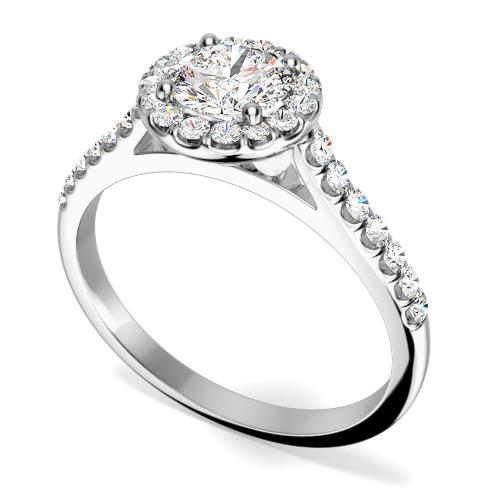 Inel de Logodna Tip Halo cu Mai Multe Diamante Dama Aur Alb 18kt cu un Diamant Central Rotund Briliant Si Diamante Mici Imprejur si pe Margini