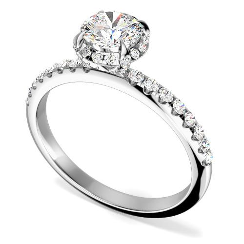 Inel de logodna Stil Halo cu Diamante Dama Aur Alb 18kt, cu un Diamant Central Rotund Briliant Inconjurat de Diamante Mici Rotund Briliant, Setare Gheare