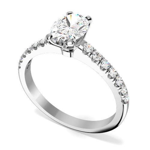 Inel de Logodna Solitaire cu Diamante Mici pe Lateral Dama Aur Alb 18kt cu un Diamant Central Oval si Diamante Mici pe Margini, Setare Gheare