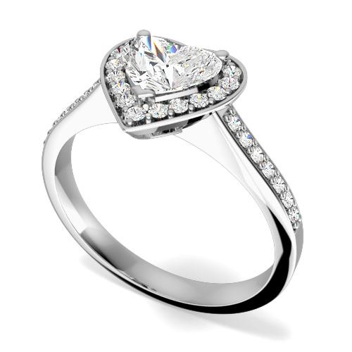 Inel de Logodna/ Inel cu Mai Multe Diamante Dama Aur Alb 18kt cu un Diamant Central in Forma de Inima Setat cu Gheare Inconjurat de Briliante Rotunde