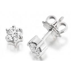 Rde059/9w - 9kt Cercei Din Aur Alb Cu Diamant Rotund Brilliant Setat In 6 Gheare