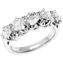 Rd314pl - Inel Din Platina Cu 5 Diamante Rotunde In Setare Cu 6 Gheare