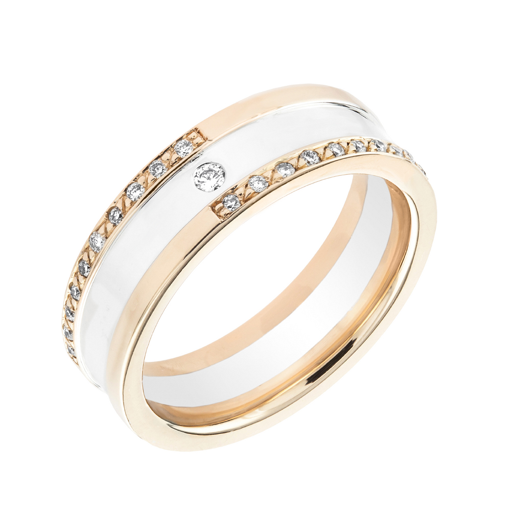 Verigheta cu Diamant Dama Aur Alb & Aur Roz 18kt cu Diamante Forma Rotund Briliant in Stoc-img1