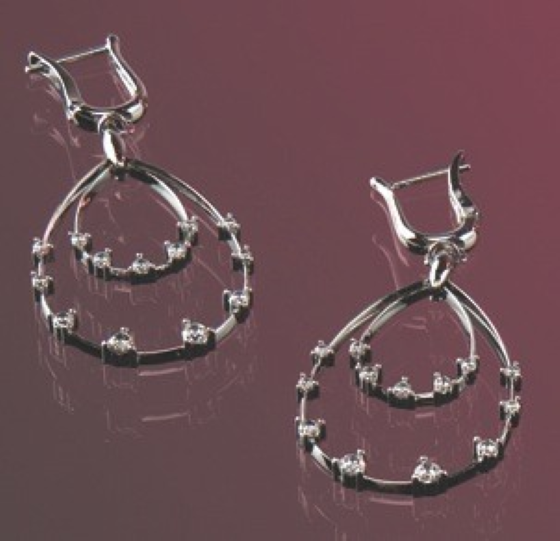 Diamond Earrings in 18ct White Gold with 26 Round Brilliant Cut Diamonds in a Claw Setting-img1