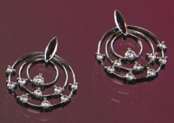 Cercei Rotunzi Aur Alb 18kt cu 20 Diamante Rotund Briliant Setate in Gheare-img1