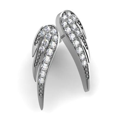 Cercei Aur Alb 14kt cu Diamante Rotund Briliant,Setare Gheare,Forma de Aripa-img1