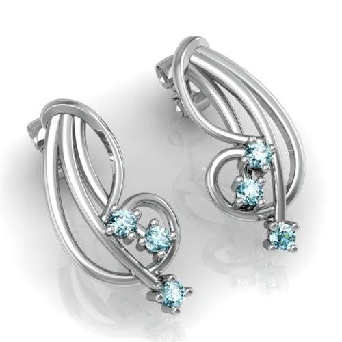 Cercei cu Mai Multe Diamante Aur Alb 14kt cu 3 Diamante Rotund Briliant in Forma de Cheia Sol-img1