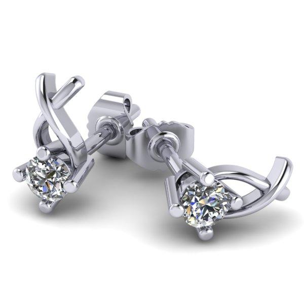 Cercei Aur Alb 14kt cu Diamante Rotund Briliant,Setare Gheare-img1