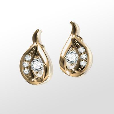 RDFUL97/14Y-Cercei Aur Galben 14kt cu Diamante Rotund Briliant,Setare Gheare,Forma Eleganta-img1