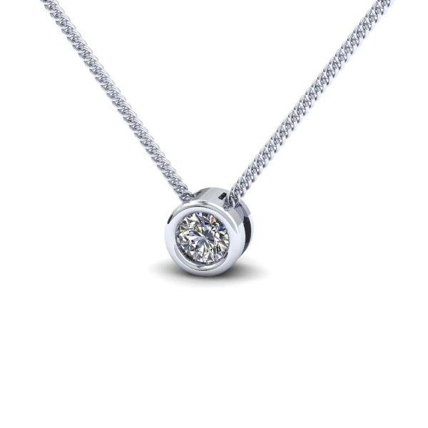 Pandantiv cu Diamant Solitaire Aur Alb 14kt cu Diamant Rotund Briliant in Setare Rub-Over cu Lantisor-img1