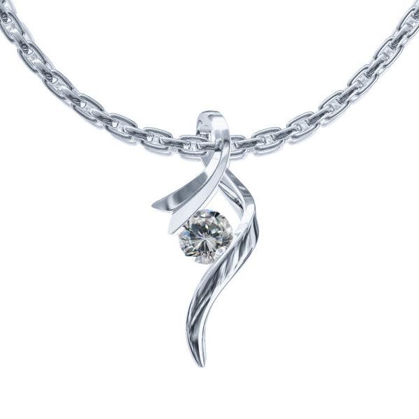 Pandantiv cu Diamant Solitaire Aur Alb 14kt cu un Diamant Rotund Briliant in Forma de Panglica si Lantisor Aur Alb 14kt-img1
