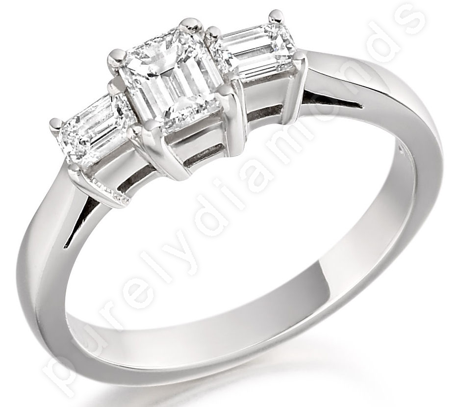 Three Stone Ring/Engagement Ring for women in 18ct white gold with three emerald cut diamonds-img1