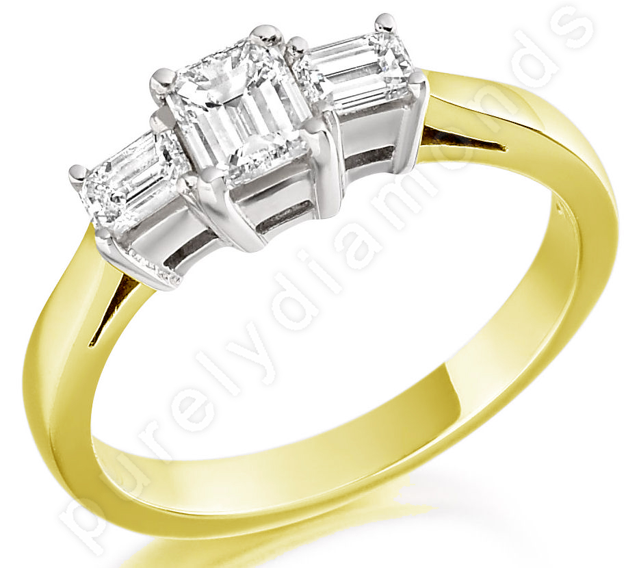Three Stone Ring/Engagement Ring for women in 18ct yellow and white gold with three emerald cut diamonds-img1
