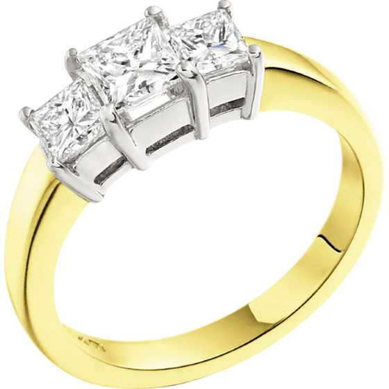 Three Stone Ring/Engagement Ring for women in 18ct yellow and white gold with 3 princess cut diamonds-img1