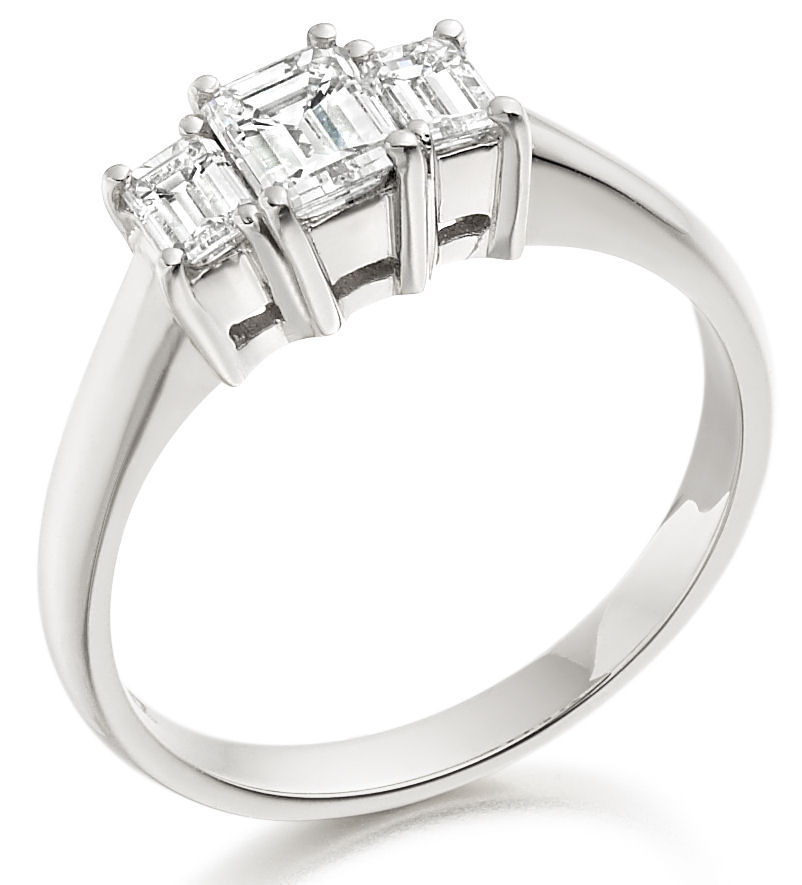 Three Stone Ring/Engagement Ring for women in 18ct white gold set with 3 emerald cut diamonds-img1