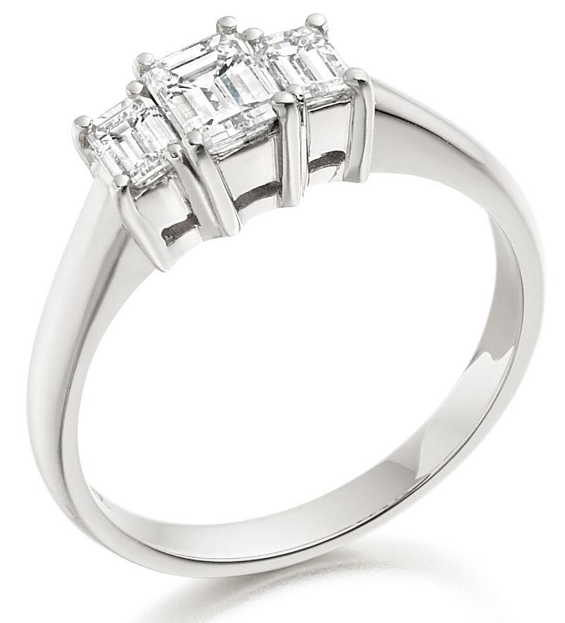 Inel de Logodna cu 3 Diamante Dama Aur Alb 18kt cu 3 Diamante Forma Smarald in Stoc-img1
