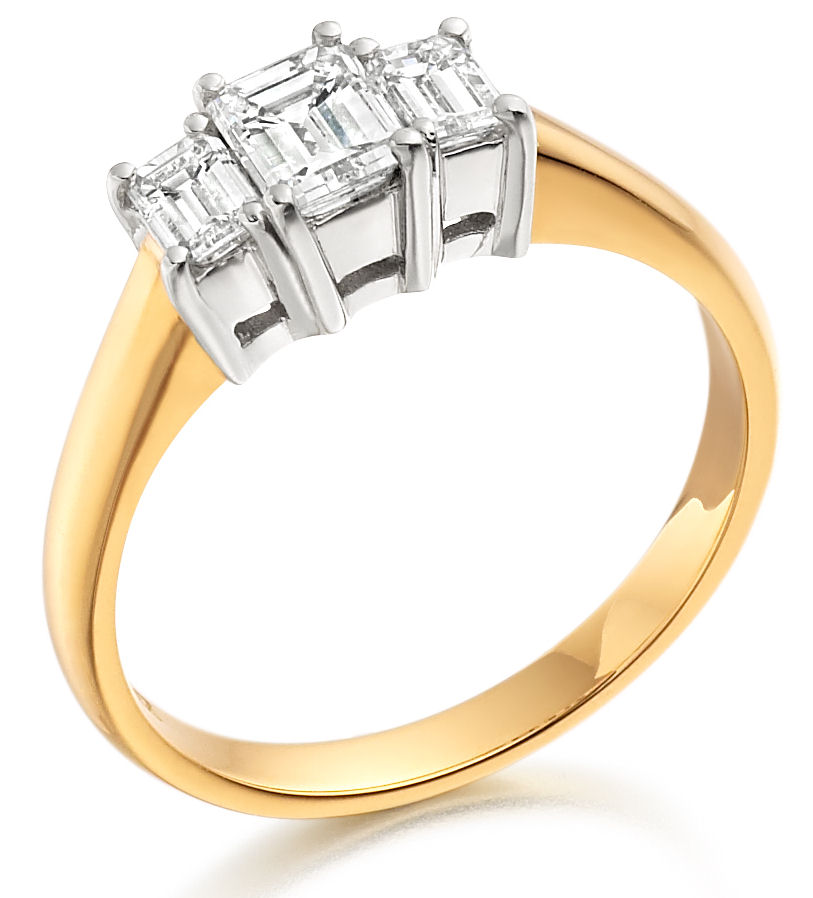 Three Stone Ring/Engagement Ring for women in 18ct yellow and white gold set with 3 emerald cut diamonds-img1