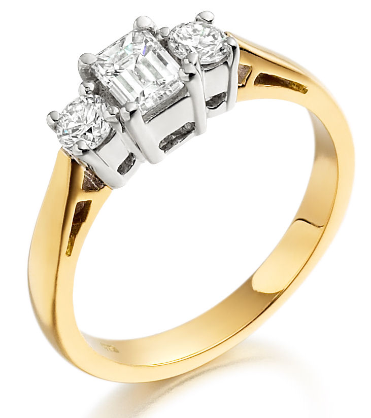 Three Stone Ring/Engagement Ring for women in 18ct yellow and white gold with an emerald cut and two round diamonds-img1