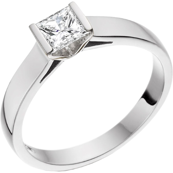 Single Stone Engagement Ring For Women In Platinum With A Princess Cut Diamond Bar Setting