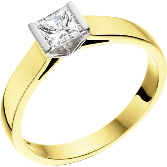 Single Stone Engagement Ring for Women in 18ct Yellow and White Gold with a Princess Cut Diamond in a Bar Setting-img1