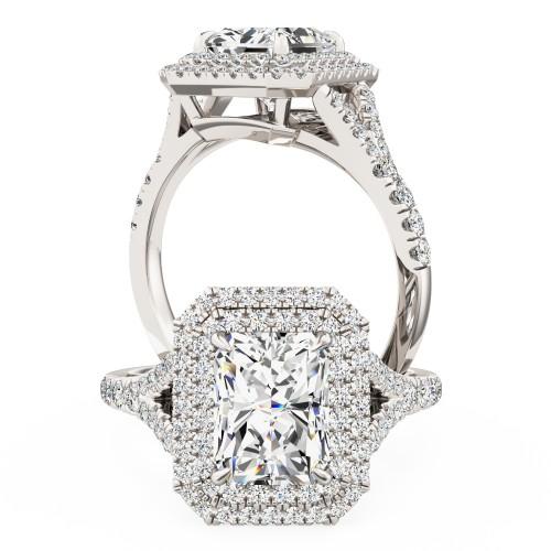Inel de Logodna cu 3 Diamante Dama Aur Alb 18kt cu 3 Diamante Forma Rotund Briliant-img1