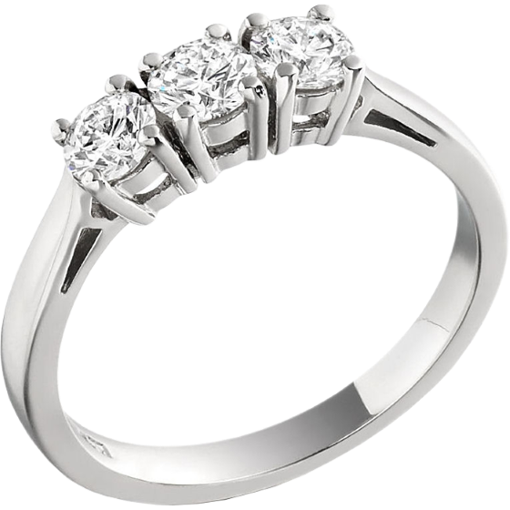 RD022W1 - 18ct white gold ring with 3 round brilliant cut diamonds-img1