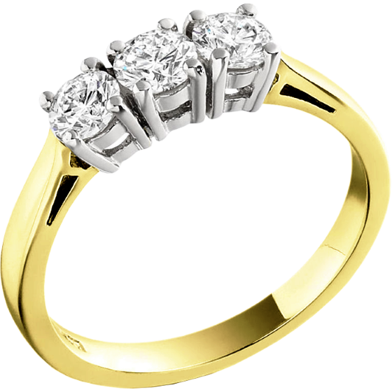 Three Stone Ring/Engagement Ring for women in 18ct yellow and white gold set with 3 round brilliant cut diamonds-img1