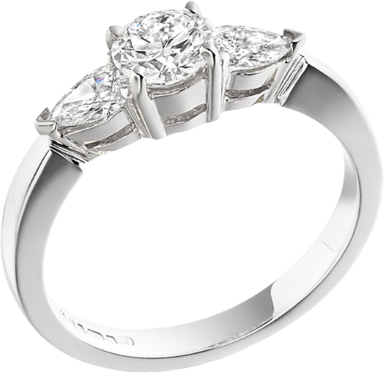 Three Stone Ring/Engagement Ring for women in platinum with a round centre and two pear-shaped diamonds-img1