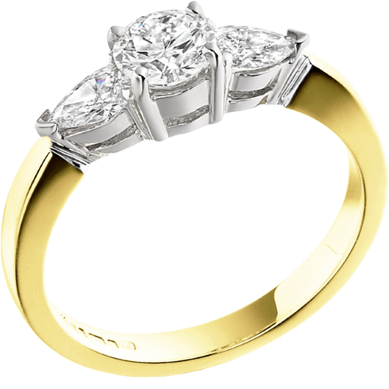 Three Stone Ring/Engagement Ring for women in 18ct yellow and white gold with a round centre and two pear-shaped diamonds-img1