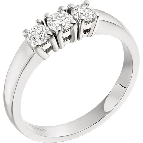 Three Stone Ring/Engagement Ring for women in platinum with 3 round brilliant cut diamonds in claw setting-img1
