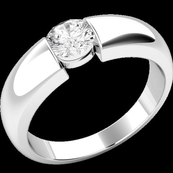 Solitär Verlobungsring für Dame in 9kt Weißgold mit einem runden Diamanten in Spannfassung-img1