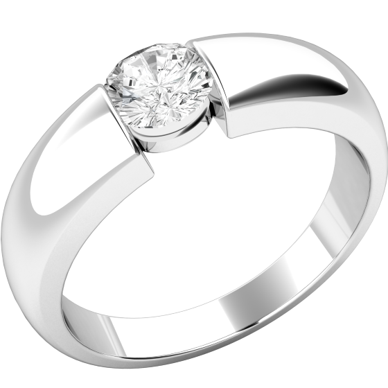 Single Stone Engagement Ring for Women in 18ct White Gold with a Round Diamond in a Tension Setting-img1