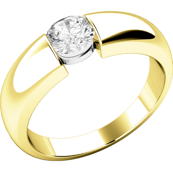Single Stone Engagement Ring for Women in 18ct Yellow Gold with a Round Diamond in a Tension Setting-img1