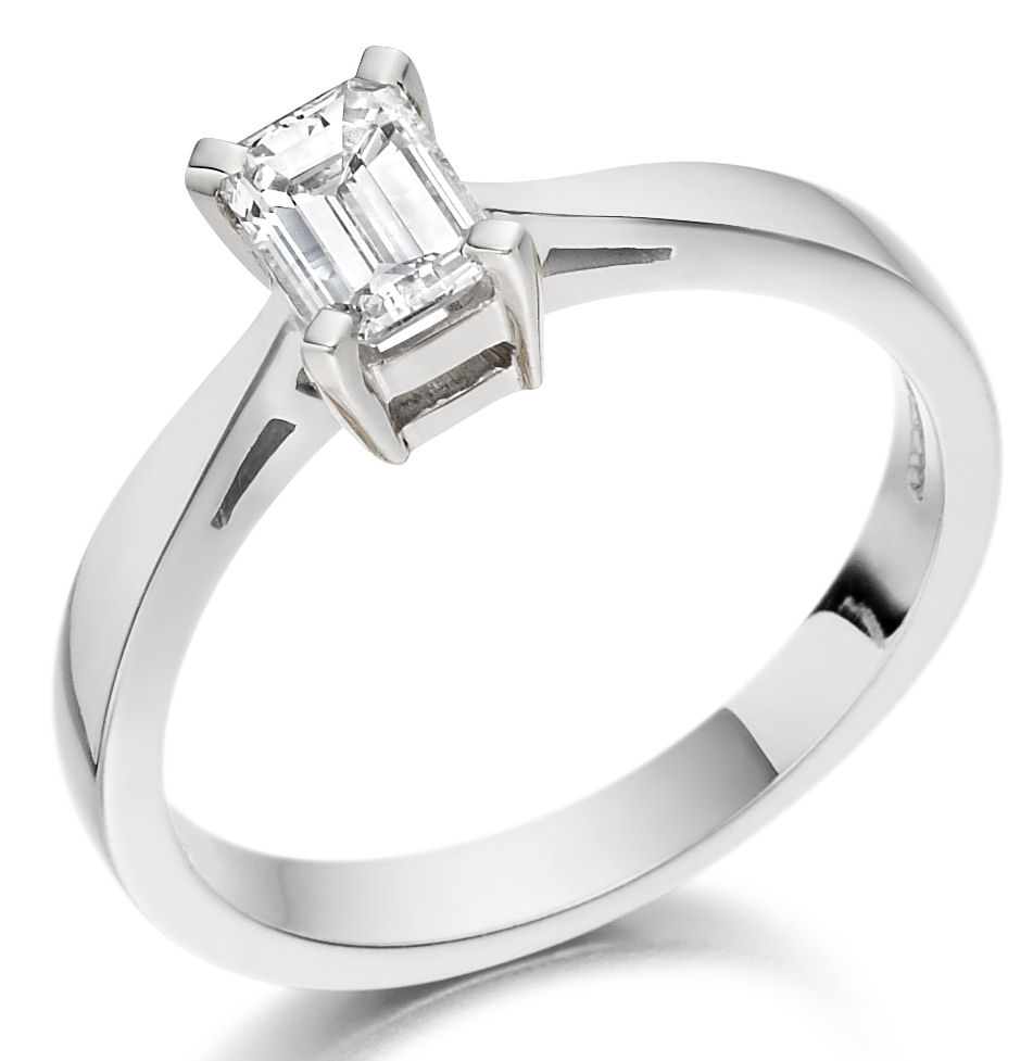 Single Stone Engagement Ring for Women in 18ct White Gold with an Emerald Cut Diamond in a 4-Claw Setting-img1
